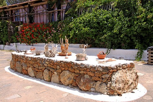 Stock Photo: 1848-250297 Table with dried fragrance dispensers, citrus fruits, Lychnostatis open_air museum, museum of local history, museum of traditional Cretan life, Hersonissos, Crete, Greece, Europe