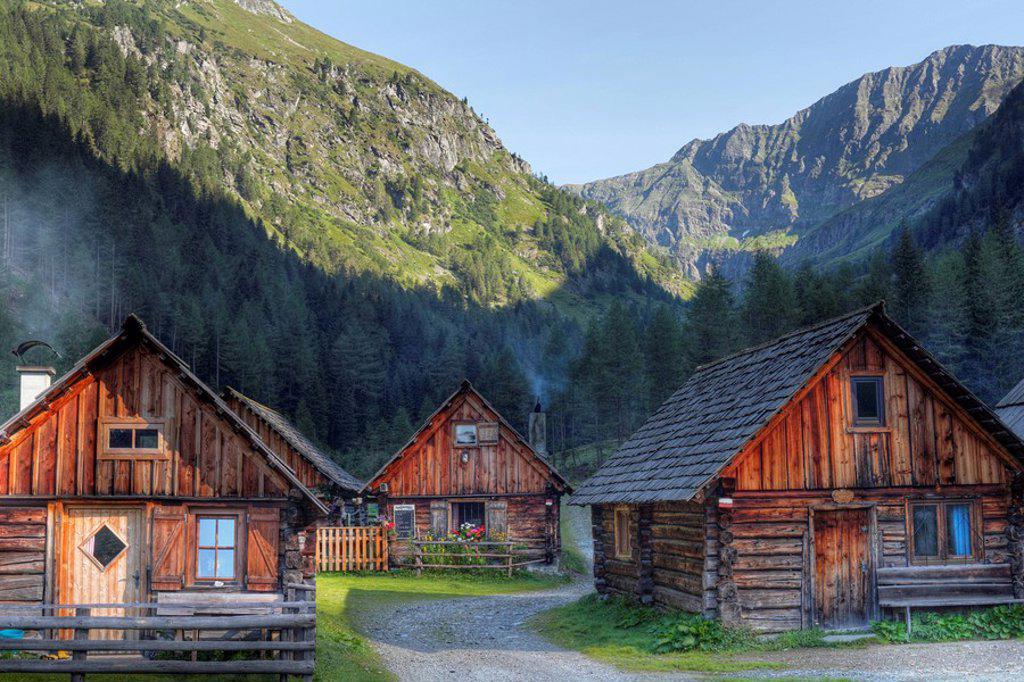 Hut village in Goeriachtal Valley, Goeriach, Lungau, Schladming Tauern, Salzburg state, Salzburg, Austria, Europe : Stock Photo