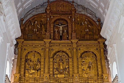 Stock Photo: 1848-250385 Detail of the main altar of Se Cathedral, Old Goa, Velha Goa, India, Asia