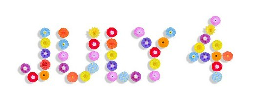 Stock Photo: 1848-250422 Word fourth of July written with flowers