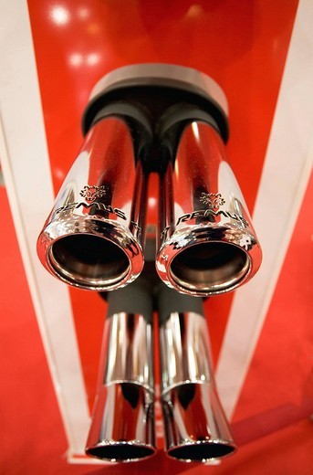 Stock Photo: 1848-250502 Twin exhaust_pipe end, exhibit at the Essen Motor Show, NRW, Germany