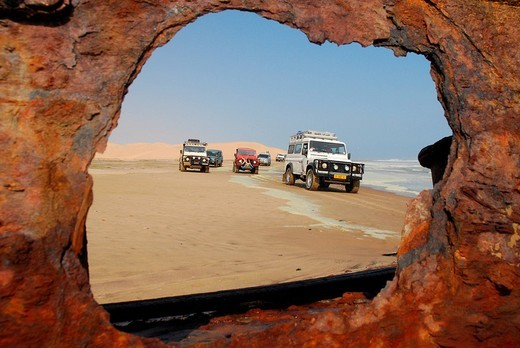 Stock Photo: 1848-250874 Jeeps at the shipwreck of Shawnee, Conception Bay, Diamond Area, Namibia