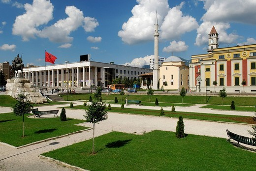 Skanderbeg Square in Tirana, Albania, Europe : Stock Photo