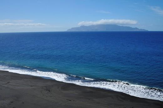 Black beach of Sao Filipe and Brava Island, Fogo, Cape Verde Islands, Africa : Stock Photo