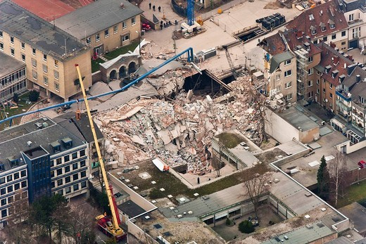 Stock Photo: 1848-251849 Aerial view, collapse of the Historical Archive of the City of Cologne, Cologne, North Rhine_Westphalia, Germany, Europe