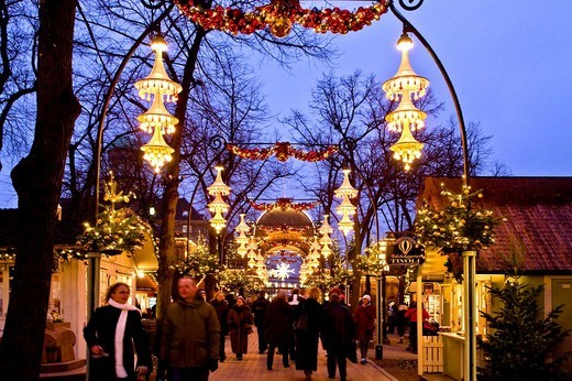 Christmas decorated main street in Tivoli, Copenhagen, Denmark : Stock Photo
