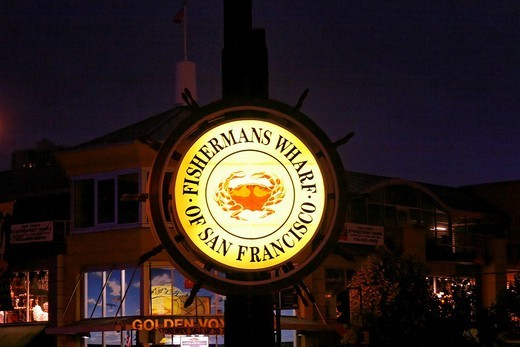 Sign for the fisherman´s wharf, pier 39, San Francisco, California, USA : Stock Photo