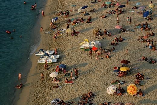 Stock Photo: 1848-252598 Beach in evening light near Ferragosto in Tropea, Calabria, Italy