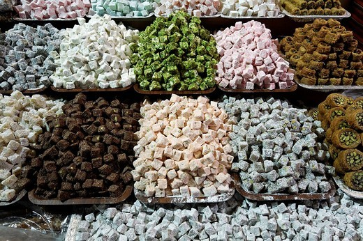 Stock Photo: 1848-25283 Lokum, Turkish Delight, in shop windows, various colours, Egyptian Bazaar, Spice Bazaar, Eminoenue, Istanbul, Turkey