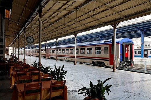 Stock Photo: 1848-25295 Historical Sirkeci Train Station, platform with train, Istanbul, Turkey