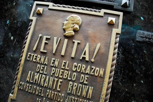 Tomb of Eva Perón at Recoleta cementary, Buenos Aires, Argentina : Stock Photo