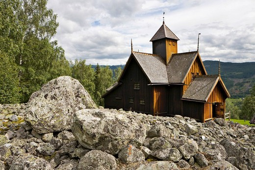 Twelfth_century stave church in Uvdal, Norway, Scandinavia, Europe : Stock Photo