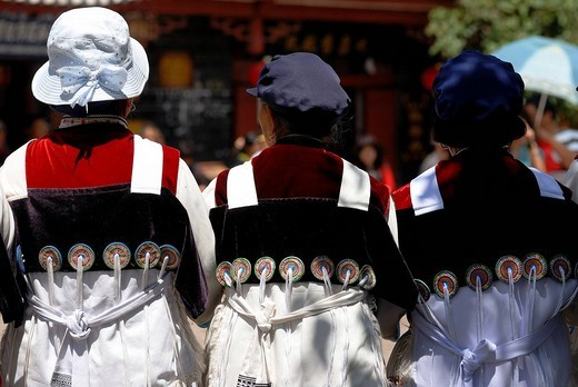 Three elderly women of the Naxi minority in Naxi dress, Lijiang, Yunnan, South China, China, Asia : Stock Photo
