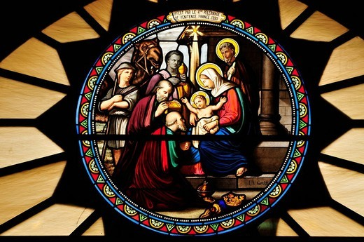Window mosaic depicting the birth of Christ at Catherine´s Church, Bethlehem, West Bank, Israel, Middle East, the Orient : Stock Photo