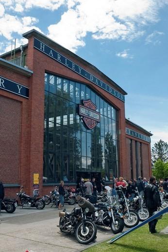 Harley Davidson Factory Frankfurt, official Harley Davidson dealer, Frankfurt, Hesse, Germany, Europe : Stock Photo