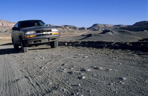Fourwheel drive vehicle on Cottonwood Canyon Road, Grand Staircase Escalante National Monument, Utah, USA : Stock Photo