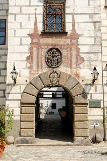 Historic old town of Trebon, Bohemia, Czech Republic : Stock Photo