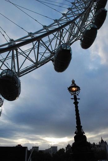 Stock Photo: 1848-254500 London Eye, with 135.36 m the highest ferris wheel of Europe London UK