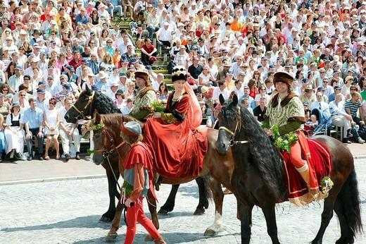 Landshut Wedding historical pageant, Landshut, Lower Bavaria, Bavaria, Germany, Europe : Stock Photo