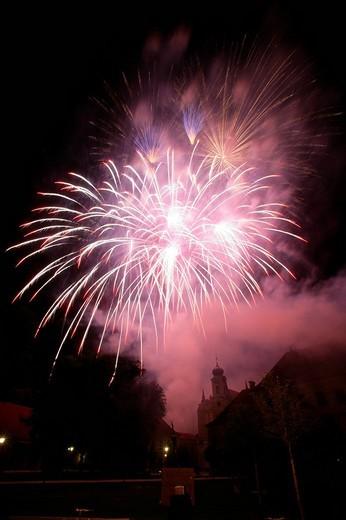 Fireworks at Raitenhaslach Cloister, Raitenhaslach, Burghausen, Upper Bavaria, Bavaria, Germany, Europe : Stock Photo