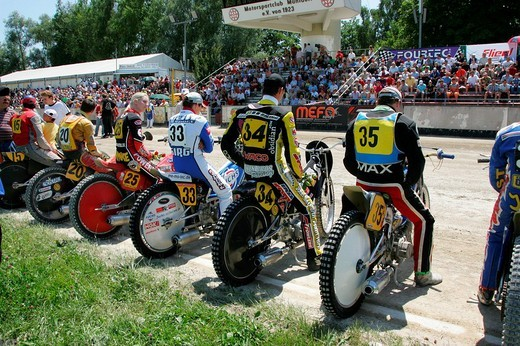Short track race line_up, international motorcycle race on a dirt track speedway in Muehldorf am Inn, Upper Bavaria, Bavaria, Germany, Europe : Stock Photo