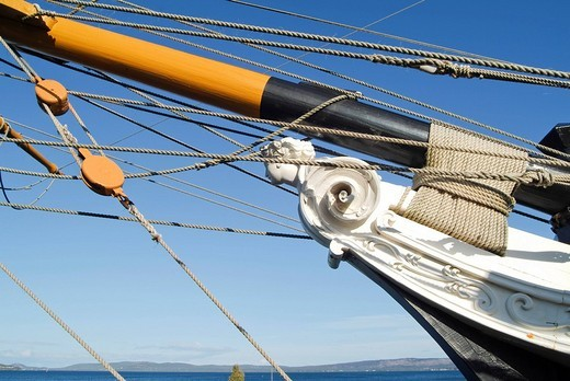 Figurehead on the prow of the Brig Amity, replica of a sailing ship from the time of colonialization, Albany, Western Australia, Australia : Stock Photo