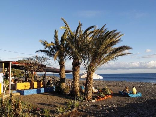 Beach bar La Chalana, Playa de Santiago, La Gomera, Canaries, Canary Islands, Spain, Europe : Stock Photo