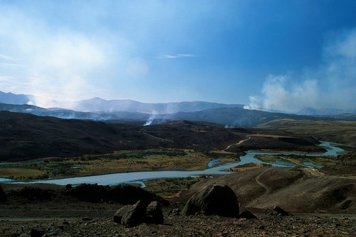 Stock Photo: 1848-255720 Fire in Torres del Paine National Park, Patagonia, Chile, South America