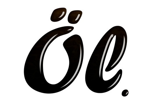 Oel written in crude oil, symbol for fossil oil, fossil energy : Stock Photo
