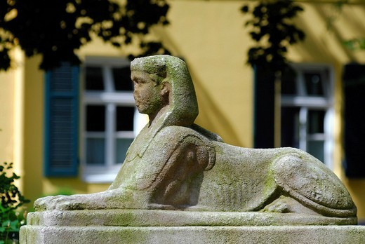 Historic Sphinx figure in front of the town hall in Bergedorf district, Hamburg, Germany, Europe : Stock Photo