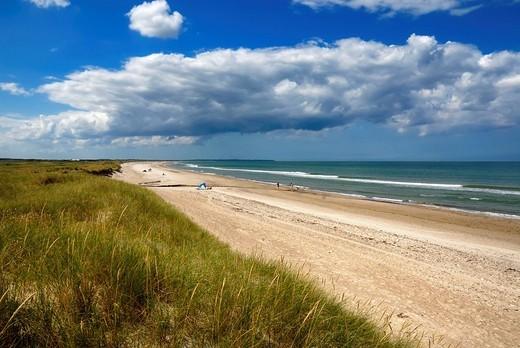 Wall dunes, natural beach and the North Sea, Kollerup beach, Jammer Bay, North West Jutland, Denmark, Europe : Stock Photo