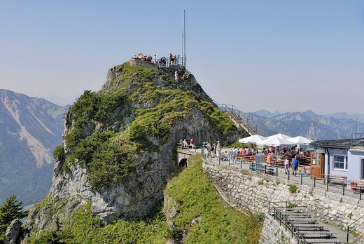 Gacherblick viewing platform and mountain terrace at Wendelsteinhaus, Bayrischzell, Upper Bavaria, Bavaria, Germany, Europe : Stock Photo