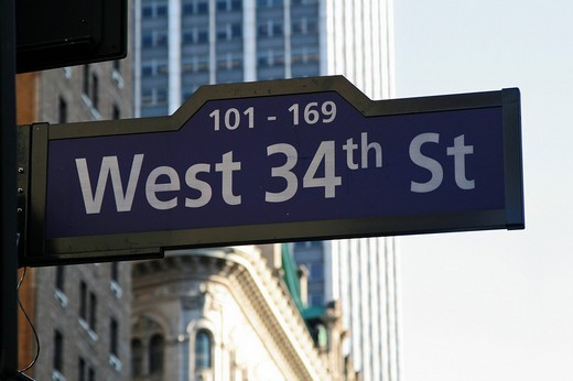 Stock Photo: 1848-256233 Street sign West 34th St, New York, USA, North America