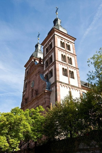 Baronial church, former abbey church, Amorbach, Hesse, Germany : Stock Photo