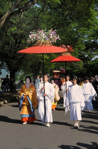 Aoi Festival, procession from Shimogamo Shrine to Kamigamo Shrine, sunshade bearers with court ladies of Saio dai wearing traditional costumes from the Heian period, Kyoto, Japan, Asia : Stock Photo