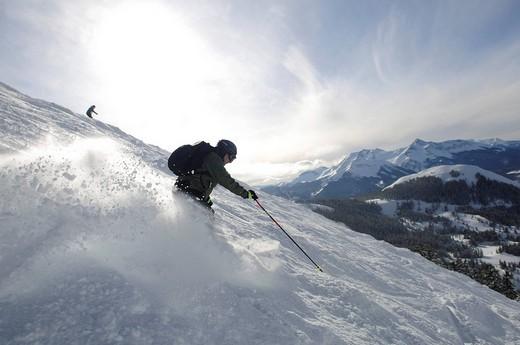 Skier in the ski region Telluride, Electra Slope in Colorado, USA, North America : Stock Photo