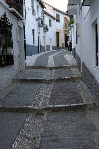 Stock Photo: 1848-257618 Alley in Albaicin, Granada, Andalusia, Spain, Europe