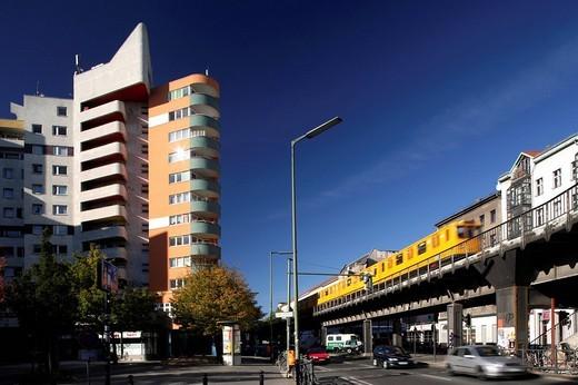 Neues Kreuzberger Zentrum district, Kottbuss Gate, deprived area, Kreuzberg, Berlin, Germany, Europe : Stock Photo