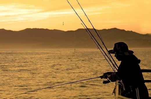 Fisherman on Santa Monica Pier, Santa Monica Beach, Los Angeles, USA : Stock Photo