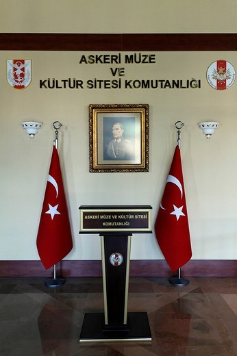 Stock Photo: 1848-258001 Lectern in front of Turkish flags and Ataturk portrait, Military Museum, Askeri Mues, Osmanbey, Istanbul, Turkey