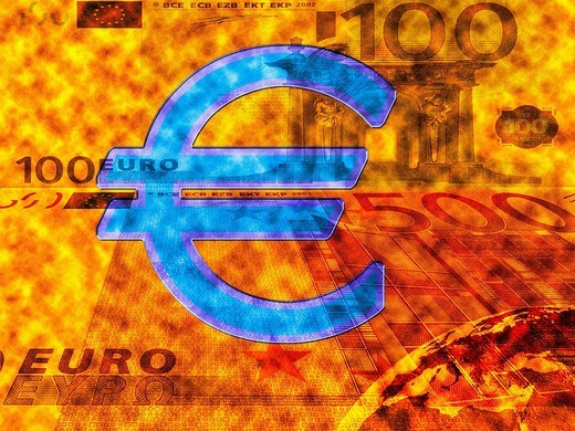 Euro symbol and 100_Euro notes : Stock Photo