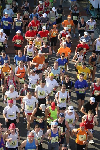 Runners at the marathon in the rhine valley, Rhineland_Palatinate, Germany Europe : Stock Photo
