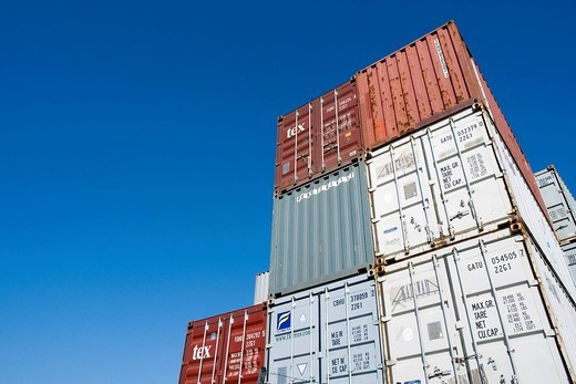 Stock Photo: 1848-258639 Overseas container, Port of Hamburg, Germany
