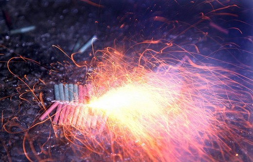 Ignited fireworks bangers and crackers : Stock Photo