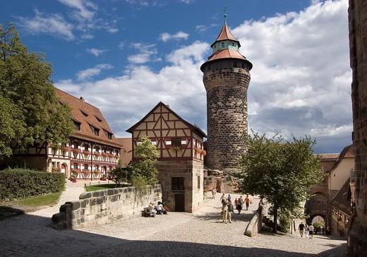 Stock Photo: 1848-258664 Imperial Castle, Sinnwellturm tower, Nuremberg, Bavaria, Germany