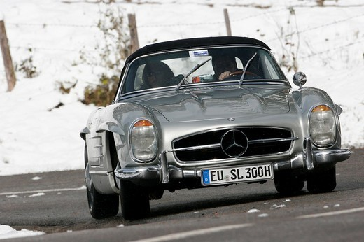 Mercedes Benz 300 SL, built 1962, Jochpass Memorial 2007, Bad Hindelang, Bavaria, Germany : Stock Photo