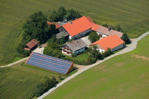 Farm with solar energy system, Upper Bavaria, Bavaria, Germany : Stock Photo