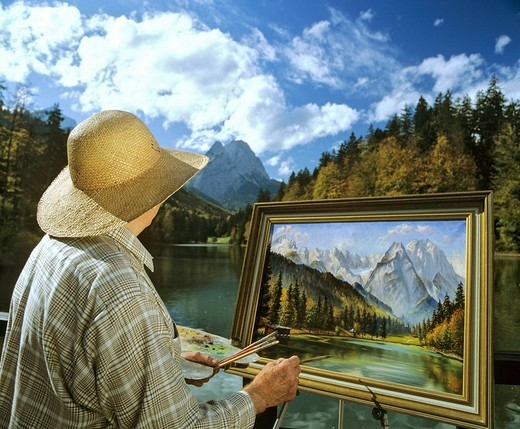 Landscape artist at Lake Riessersee near Garmisch_Partenkirchen, Wetterstein Range, Upper Bavaria, Bavaria, Germany, Europe : Stock Photo