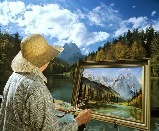 Stock Photo: 1848-258908 Landscape artist at Lake Riessersee near Garmisch_Partenkirchen, Wetterstein Range, Upper Bavaria, Bavaria, Germany, Europe
