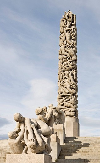 Stock Photo: 1848-259019 Monolithic column in Vigeland Sculpture Park at Frogner Park, Oslo, Norway, Scandinavia, Europe